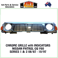 Nissan Patrol GQ Chrome Grille - 8/87 - 10/97 With Lights