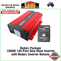 Redarc 1000W 12V Pure Sine Wave Inverter with Remote Package