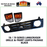 Landcruiser 78/79 Series Black Grille with Front Indicator/Park Lamps