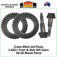 Crown Wheel and Pinion 4.625:1 Front & Rear Diff Gears GQ GU Nissan Patrol