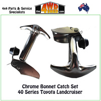 Chrome Bonnet Catch Set 40 Series Toyota Landcruiser