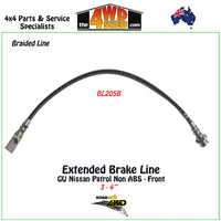 Braided Extended Brake Line Nissan Patrol GU Non ABS Front