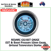 Redarc G52-BET EGT & Boost Pressure 52mm Gauge with Optional Temperature Display