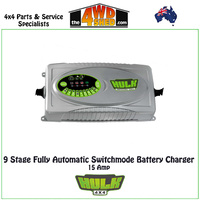 9 Stage Fully Automatic Switchmode Battery Charger 15 Amp 12-24V