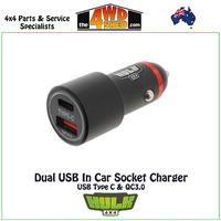 Dual USB In Car Socket Charger - USB Type C & QC3.0