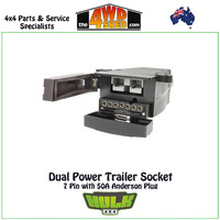 Dual Power Trailer Socket 7 Flat Pin with 50A Anderson Plug