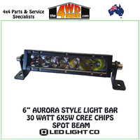 "6"" AURORA STYLE LIGHT BAR 30 WATT 6X5W CREE CHIPS SPOT BEAM"