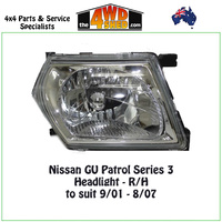 Nissan GU Patrol Series 3 Headlight - R/H