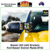 Bonnet LED Light Brackets Ford Ranger Everest Mazda BT50