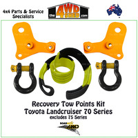Recovery Tow Points Shackles & Equaliser Strap Kit Toyota 76 78 79 Series Landcruiser Standard Length