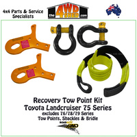 Recovery Tow Points, Shackles & Equaliser Strap Kit - Toyota 75 Series Landcruiser