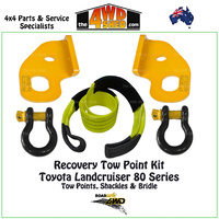 Recovery Tow Point, Shackles & Equaliser Strap Kit - Toyota 80 Series Landcruiser