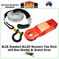 Rear Standard Alloy Tow Hitch Kit with Snatch Strap & Bow Shackle - RED