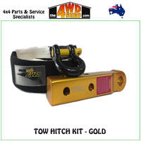 Rear Extended Tow Hitch Kit with Snatch Strap & Bow Shackle - Gold