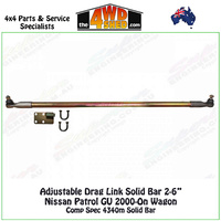 "Adjustable Drag Link Solid Bar 2-6"" Nissan Patrol GU 2000-On Wagon"
