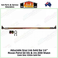 Adjustable Drag Link Steering Rod Nissan Patrol GU Ute and Pre 2000 Wagon