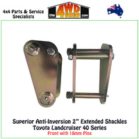 Anti-Inversion 2 inch Extended Shackles Toyota Landcruiser 40 Series Front