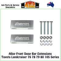 Alloy Front Sway Bar Extensions Toyota Landcruiser 76 78 79 80 105 Series