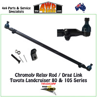 Chromoly Steel Relay Rod / Drag Link with Tie Rod Ends - Toyota Landcruiser 80 & 105 Series