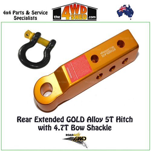 Rear GOLD Extended Recovery Tow Hitch with Bow Shackle